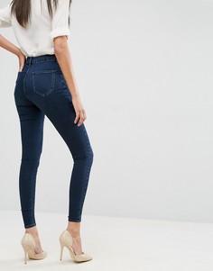 Темно-синие джинсы-премиум с завышенной талией ASOS SCULPT ME - Синий