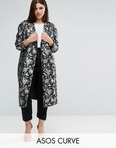 Жаккардовое пальто узкого кроя ASOS CURVE Premium - Мульти