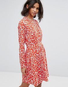 Свободное платье с цветочным принтом Vila - Красный