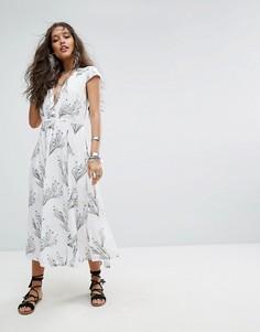 Платье миди в стиле ретро с принтом Free People - Белый