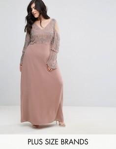 Платье макси с открытыми плечами и отделкой на топе Lovedrobe Luxe - Фиолетовый