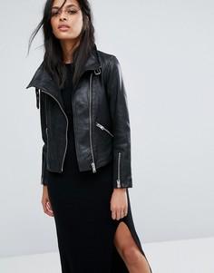 Кожаная байкерская куртка AllSaints Lewin - Черный