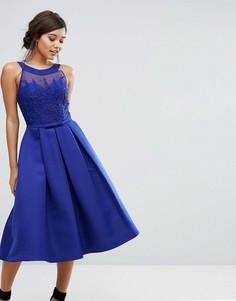 Структурированное платье миди с декорированным топом Little Mistress - Синий