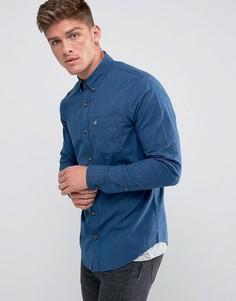 Темно-синяя поплиновая рубашка приталенного кроя с логотипом Hollister - Темно-синий