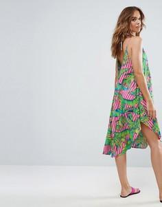 Пляжное платье в полоску на бретельках с принтом ASOS - Мульти