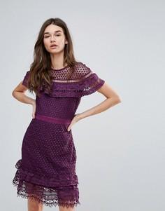 Кружевное платье с ярусными оборками Liquorish - Фиолетовый