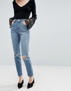 Выбеленные узкие джинсы в винтажном стиле с завышенной талией и рваными коленями ASOS FARLEIGH - Синий