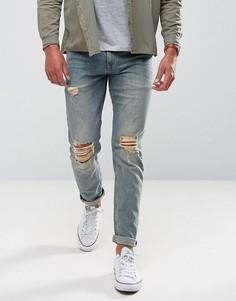 Узкие выбеленные джинсы с рваными коленями ASOS - Синий