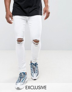 Белые джинсы скинни с прорехами на коленях Jaded London - Белый