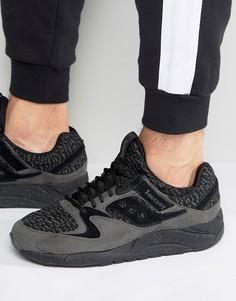 Черные кроссовки с трикотажными вставками Saucony Grid 9000 S70302-2 - Черный