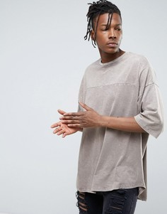 Оверсайз-футболка из фактурного меланжевого трикотажа ASOS - Коричневый