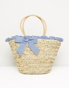 Соломенная сумка в полоску с рюшами и бантом South Beach - Мульти