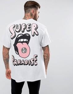Oversize-футболка с принтом на спине New Love Club - Серый