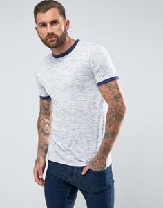 Фактурная футболка с контрастной отделкой в рубчик ASOS - Синий