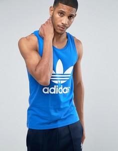 Синяя майка с логотипом-трилистником adidas Originals BR4849 - Синий
