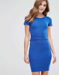Платье в рубчик с бахромой Lavand - Синий