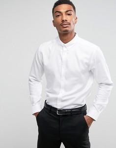 Рубашка слим из фактурной ткани Burton Menswear - Белый