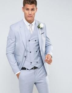 Голубой приталенный пиджак из 100% шерсти ASOS Wedding - Синий