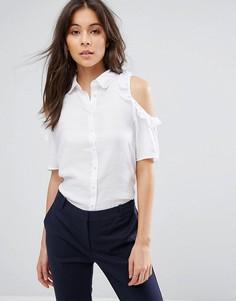 Рубашка с оборкой QED London - Белый