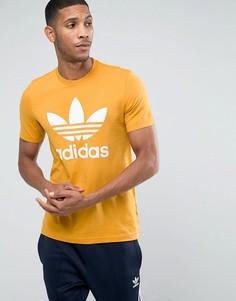 Оранжевая футболка с логотипом-трилистником adidas Originals BQ1806 - Оранжевый