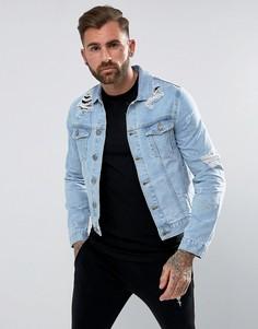 Джинсовая куртка с рваной отделкой Rose London - Синий