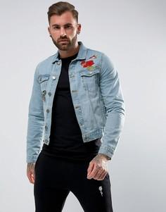 Джинсовая куртка с цветочной вышивкой Rose London - Синий