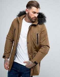 Куртка с отделкой из искусственного меха ASOS - Коричневый