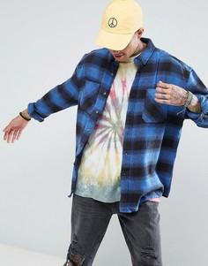 Синяя свободная рубашка в клетку с эффектом кислотной стирки ASOS - Синий