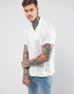 Белая оверсайз-рубашка из вискозы с леопардовым принтом ASOS - Белый