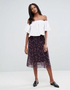 Сетчатая юбка миди с цветочным принтом Pieces Hesha - Черный