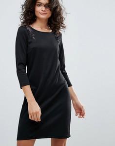 Платье с кружевными вставками Vila - Серый