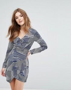 Короткое приталенное платье с принтом и длинными рукавами Lavand - Темно-синий