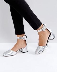 Туфли на среднем каблуке с люверсами Truffle - Серебряный