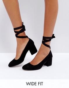 Туфли для широкой стопы на среднем каблуке с завязками London Rebel - Черный