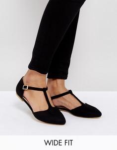 Туфли для широкой стопы с Т-образными ремешками London Rebel - Черный