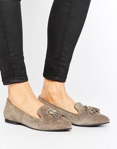 Замшевые туфли на плоской подошве с кисточками Park Lane - Светло-серый