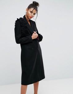 Пальто с оборками ASOS - Черный