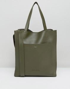 Большая сумка-тоут без подкладки оливкового цвета Claudia Canova - Зеленый