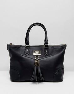 Большая сумка с ручками и съемным ремешком на плечо Marc B - Черный