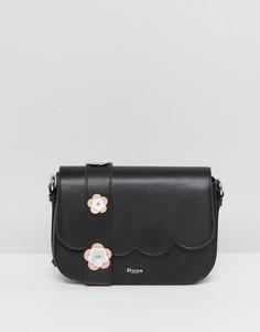 Черная сумка через плечо с фигурной отделкой и цветочной аппликацией Dune - Черный