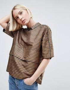 Шелковая блузка Ganni - Коричневый