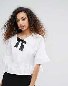 Монохромная блузка с баской и контрастным бантом Unique 21 - Белый