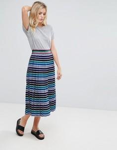 Плиссированная юбка миди в полоску Pepe Jeans - Синий