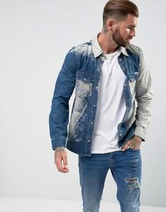 Джинсовая рубашка с принтом тай-дай Liquor & Poker - Синий