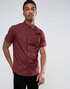 Оксфордская приталенная рубашка с короткими рукавами Burton Menswear - Красный