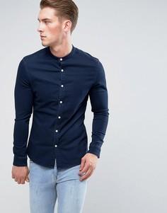 Приталенная джинсовая рубашка с горловиной на пуговице ASOS - Темно-синий