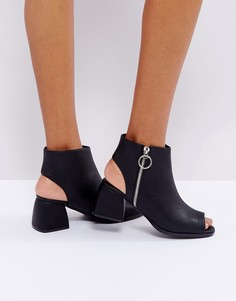 Ботильоны на среднем каблуке с открытым носком и молнией Truffle Collection - Черный
