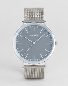 Часы с сетчатым ремешком и серым циферблатом Sekonda эксклюзивно для ASOS - Серебряный
