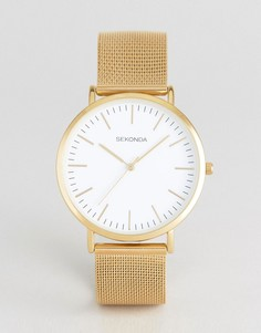 Часы с сетчатым золотистым ремешком и белым циферблатом Sekonda эксклюзивно для ASOS - Золотой