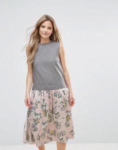 Платье миди с цветочным принтом The English Factory - Мульти